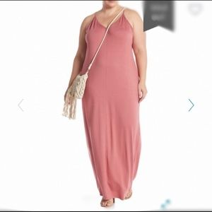 Abound V-Neck Sleeveless Maxi Dress Pink 1X